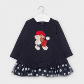 Pletené šaty s tylovou dívkou Mayoral 2965-90 granát