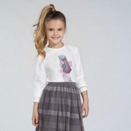 Tričko s dlouhým rukávem pro dívky Mayoral 7062-27 krémová / fialová