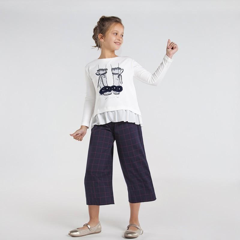 Kostkované kalhotové kalhoty pro dívky Mayoral 7544-6 granát