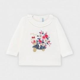 Tričko s dlouhým rukávem pro dívky Mayoral 2055-31 krémová / růžová