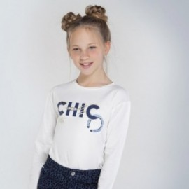 Tričko pro dívky s dlouhým rukávem Mayoral 7063-76 Krémová
