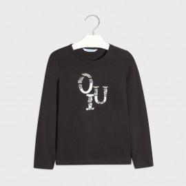 Tričko s dlouhým rukávem pro dívky Mayoral 830-66 Černá