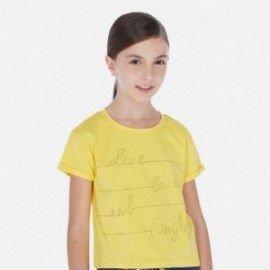Dívčí tričko s krátkým rukávem Mayoral 6019-37 žluté
