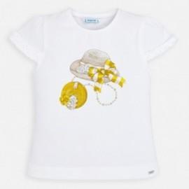 Bavlněné dívčí tričko Mayoral 3001-69 bílé / žlutá
