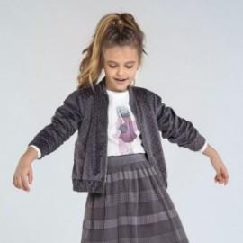 Sametová bunda pro dívku Mayoral 7405-41 šedá