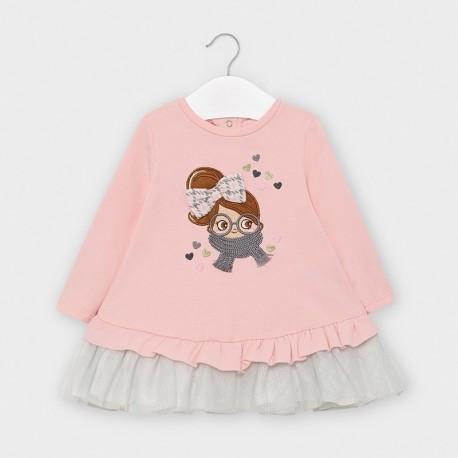 Dívčí pletené šaty s tylem Mayoral 2965-89 růžové