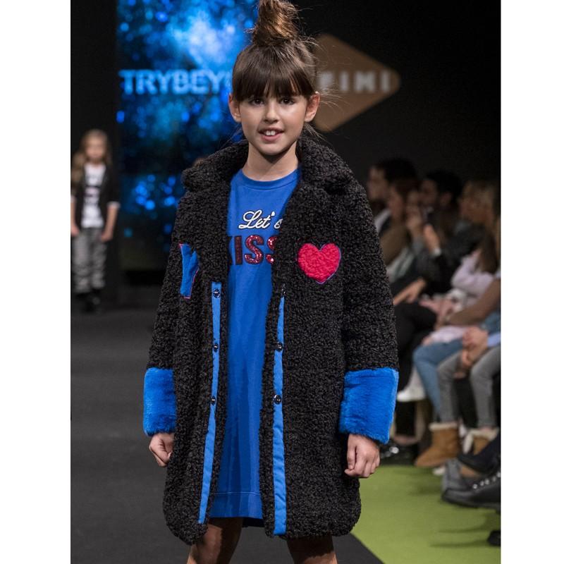 Dívčí zimní bunda s náprsenkou Trybeyond 97996-10A námořnická modrá