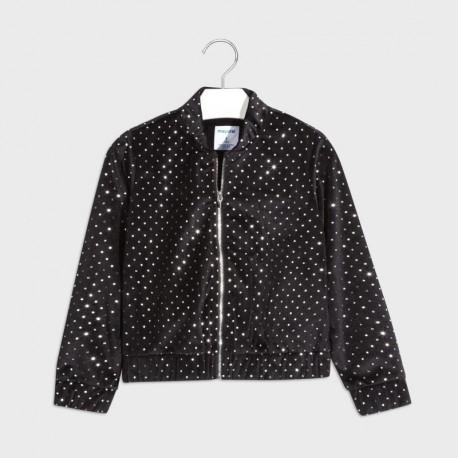 Sametová bunda pro dívku Mayoral 7405-43 černá