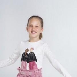 Dívčí tričko s dlouhým rukávem Mayoral 7065-10 bílá / černá