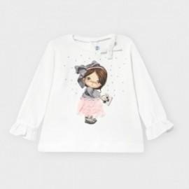 Dívčí tričko s dlouhým rukávem Mayoral 2054-50 Bílé / růžové