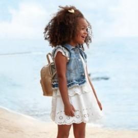 Šaty s výšivkou pro dívku Mayoral 3947-75 Krémová