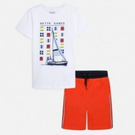Sada trička a bermudy pro chlapce Mayoral 6615-68 Korál