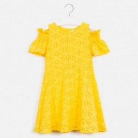 Dívčí šaty s perforací Mayoral 6983-78 Žluté