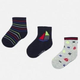 Sada 3 párů chlapeckých ponožek Mayoral 10736-61 námořnická modrá
