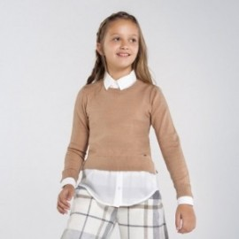 Dívčí svetr Mayoral 7329-54 hnědá barva
