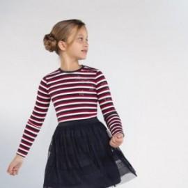 Dívčí tričko s pruhy Mayoral 7075-37 červené barvy