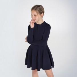 Dívčí pletené šaty Mayoral 7963-57 tmavě modré barvy