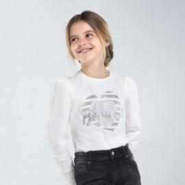 Halenka s dlouhými rukávy pro dívky Mayoral 7066-89 bílé barvy