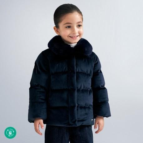 Velurová bunda pro dívky Mayoral 4413-73 námořnická modrá