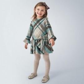 Dívčí kostkované šaty Mayoral 4969-86 tyrkysové barvy