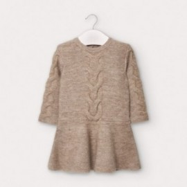 Dívčí pletené šaty Mayoral 2958-25 béžové barvy
