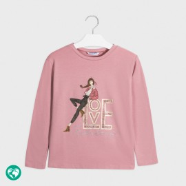 Tričko s dlouhým rukávem pro dívky Mayoral 7068-31 Růžový