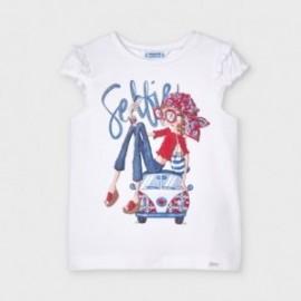 Dívčí tričko s krátkým rukávem Mayoral 3013-74 bílé