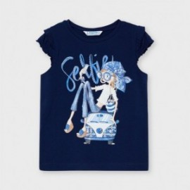 Tričko s krátkým rukávem pro dívky Mayoral 3013-78 granát