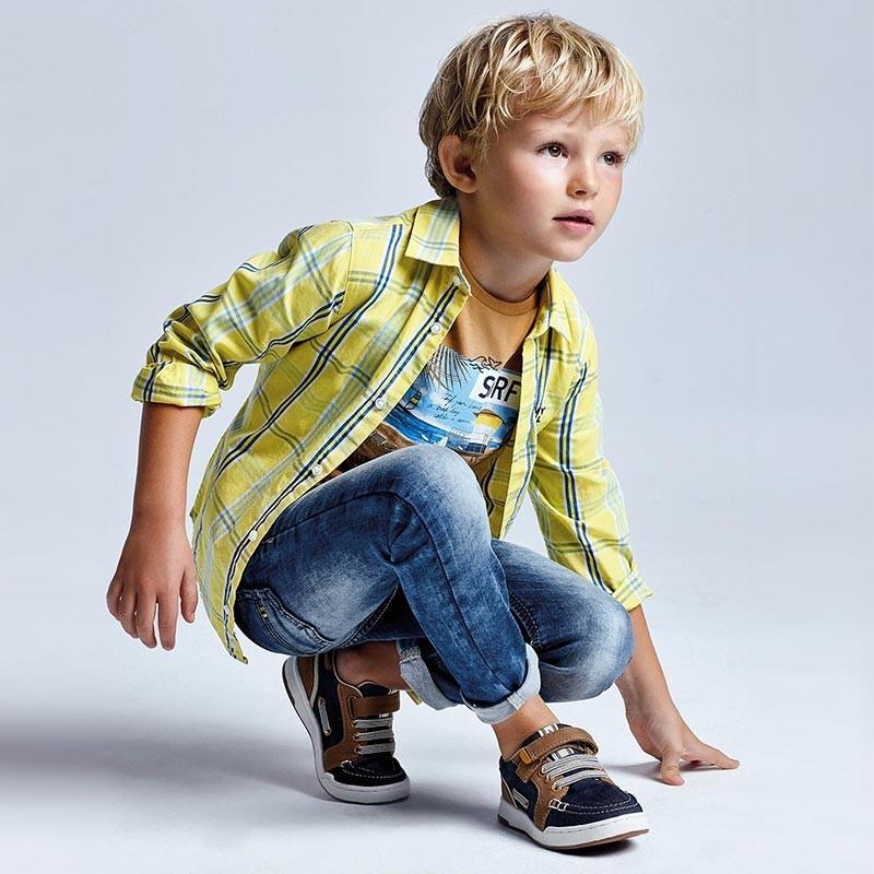 Žlutá kostkovaná košile Mayoral 3126-96 pro chlapce