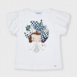 Tričko s krátkým rukávem pro dívky Mayoral 3002-23 Bílé/tmavě modré