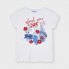 Tričko s potiskem pro dívky Mayoral 3015-71 Bílý