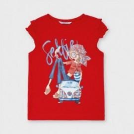 Tričko s krátkým rukávem pro dívky Mayoral 3013-76 červené