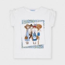 Dívčí tričko s potiskem Mayoral 3007-39 Bílé/modré