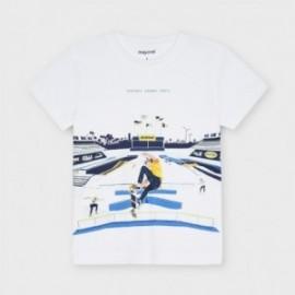 Tričko s potiskem pro chlapce Mayoral 3040-56 Bílý