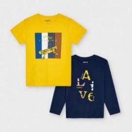 Sada 2 triček pro chlapce Mayoral 3055-80 žlutá / tmavě modrá