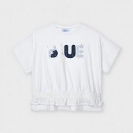 Tričko s dívčí aplikací Mayoral 3010-27 Bílá/tmavě modrá