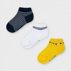 Sada 3 párů ponožek pro chlapce Mayoral 10052-37 námořnická modrá/bílá/žlutá