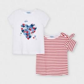 Sada 2 triček pro dívky Mayoral 3009-28 bílá / červená