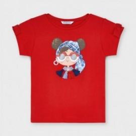 Dívčí tričko s potiskem Mayoral 3016-78 červené