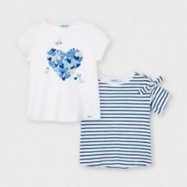 Sada 2 triček s krátkými rukávy pro dívky Mayoral 3009-27 bílá/námořnická modř