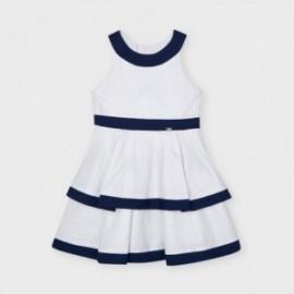 Dívčí plátěné šaty Mayoral 3925-11 Bílá / tmavě modrá