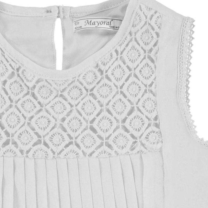 025965eb21 Mayoral 3182-56 Bluzka plisowana z koronką kolor Biały