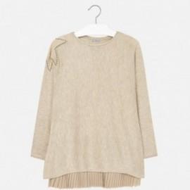 Mayoral 7933-37 šaty pletené gáza sukně barva hnědá