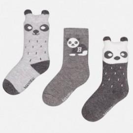 Mayoral 10215-25 Tři páry ponožek medvěd šedá barva