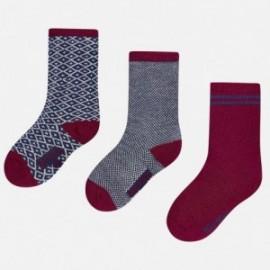 Mayoral 10216-27 Tři páry ponožek barva bobule