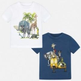 Mayoral 1060-46 Sada 2 košile krátkých rukávů zvířat barva bílá / modrá