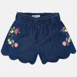 Mayoral 3222-5 Dívčí šortky s výšivkou barva džíny