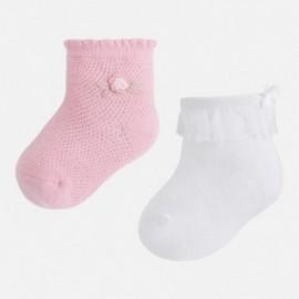 Mayoral 9602-31 Sada 2 párů ponožek barva bílá / růžová