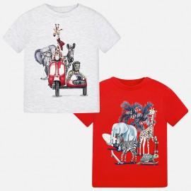"Mayoral 1060-44 Kompl.2 koszulki k/r ""animals kolor Wiśniowy"