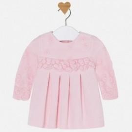 Mayoral 2821-53 Šaty pro dívky vyšívané růžovou barvou